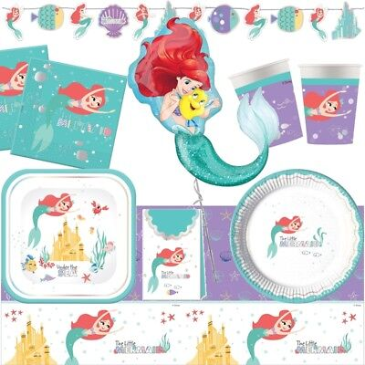 Disney Little Mermaid Themed Party Range (Tableware Decorations Balloons Packs) - Disney Princess Theme Party Decorations
