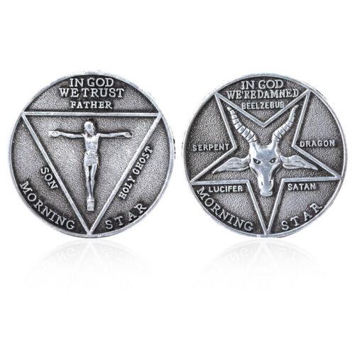 Lucifer Morning Star Replica Coin, Satanic Pentecost Sheep Head U.S.A. SHIPPING