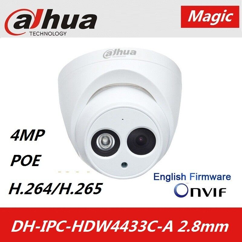 Details about DaHua IPC-HDW4433C-A 2 8mm POE 4MP Built in Microphone IR  DOME IP Camera