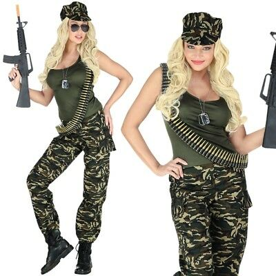 Soldatin Damen Kostüm Gr. 34/36 (S) Army Girl Outfit Armee Camouflage #6943