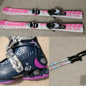 100cm child ski package w/ adjustable boots + poles - age 5-6