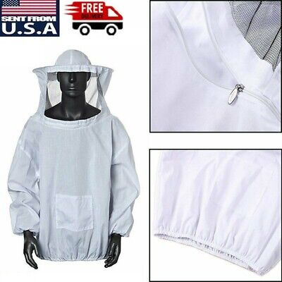 Beekeeping Jacket Equipment Veil Bee Keeping Cotton Suit Hat Pull Over Smock Usa