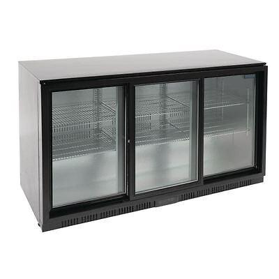 Commercial Polar Back Bar Cooler with Sliding Doors in Black