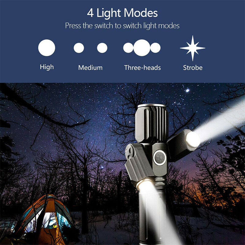 3-Mode Focus Head Torch With Powerful High Brightness Lumens  T6 LED Chip WT