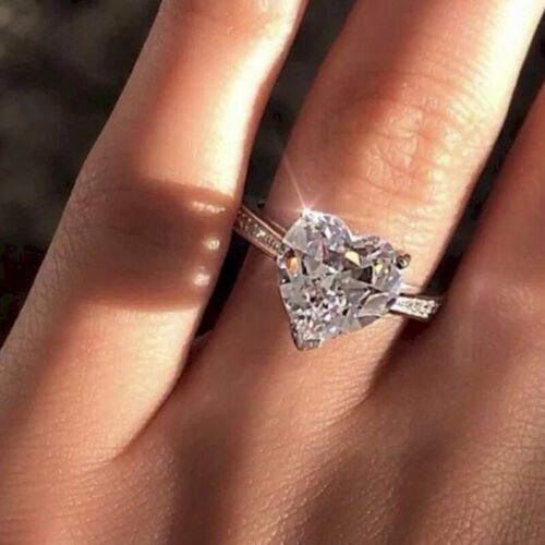 fashion crystal heart shaped wedding rings women