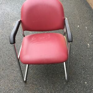 1 Burgundy Naugahide Type Office Chair
