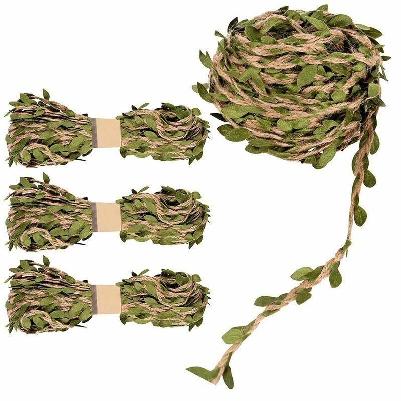4 Rolls Jute Burlap Vine Twine with Artificial Leaves Garland DIY Crafts Decor