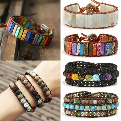 7 Chakra Natural Stone Tube Beads Bracelet Men Women Rope Wrap Bangle Jewelry](Tube Bracelet)