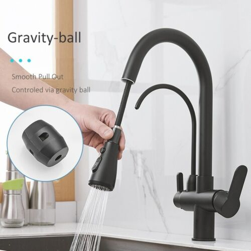 Matte Black Filtered Crane For Kitchen Pull Out Spray 360 Rotation Water