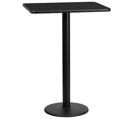 24 X 30 Rectangular Black Laminate Table Top With 18 Round Bar Height Base
