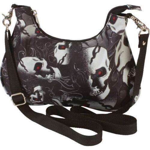 Black Hobo Purse Convertible Waist Bag Fanny Pack Skull Red