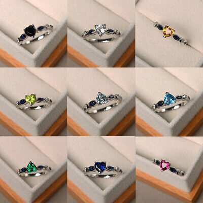 Heart Shaped Crystal Ring (Fashion Crystal Heart Shaped Wedding Rings Women's Zircon Engagement Rings )