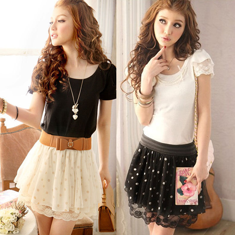 Korean Women Polka Dot Lace Chiffon Mini Skirt Pleated Elastic Waist Skirt Dress