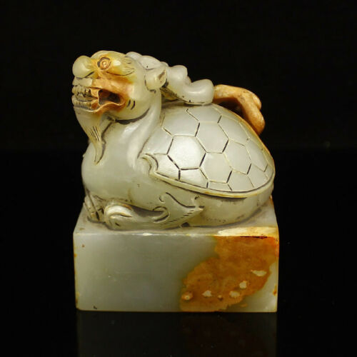 Chinese Hand-carved Hetian Jade Seal w Dragon Turtle