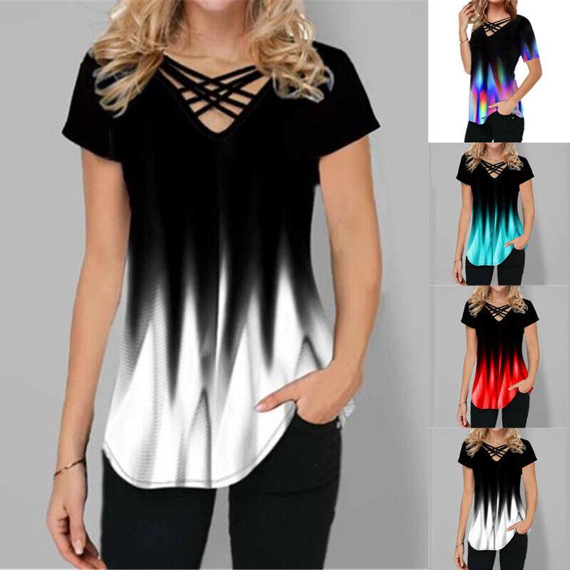 Womens V Neck Short Sleeve T Shirt Gradient Print Blouse Casual Beach Slim Tops