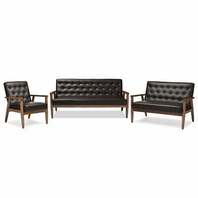 sorrento 3 piece faux leather tufted sofa
