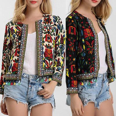 Fashion Womens Winter Floral Slim Casual Jacket Coat Short Outerwear Blazer Suit