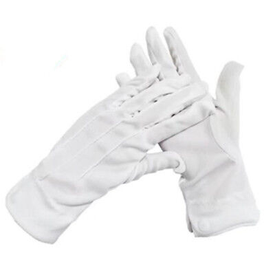 Adult White Formal Gloves Mens Tuxedo Guard Parade Santa Inspection Fancy Dress