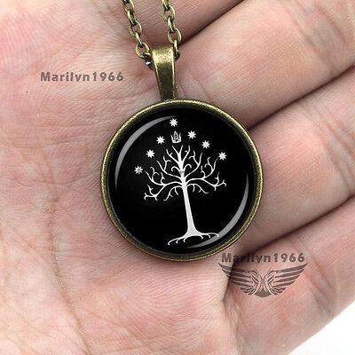 Bronze Mit Weißem Acryl (Halskette mit Lebensbaum Anchänger aus Acrylglas ein weiß schwarz Baum des Leben)