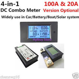 Dc Panel Meter Voltage Current Power Energy Combo Monitor