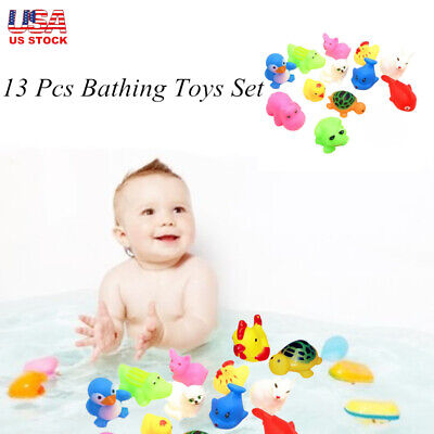 13Pcs Baby Bathing Toys Set Animal Shaped Pinching Voice Floating Squeaky Toy