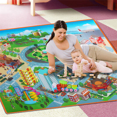 Baby Kid Toddler Activity Play Crawl Traffic Map Carpet Traffic Map Rug Play Mat
