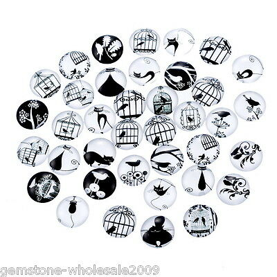 10PCS Wholesale  Bird Cage Mixed Glass Embellishments Cabochons Findings  12mm