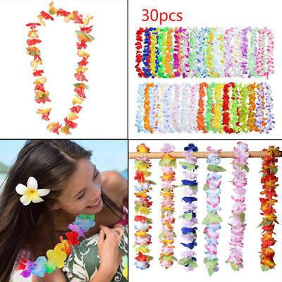 30pcs Hawaiian Leis Necklace Tropical Luau Hawaii Silk Flower Wreath Party Decor - A Luau