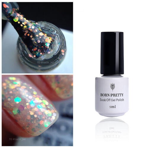 glitter sequins uv gel polish 5ml clear