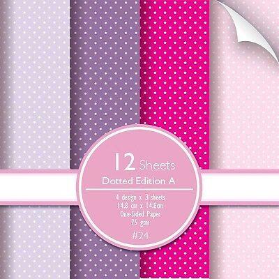 12 sheets Polka Dotted Pattern Purple Pink Lavender Love Scrapbook Paper  - Pink Scrapbook Paper