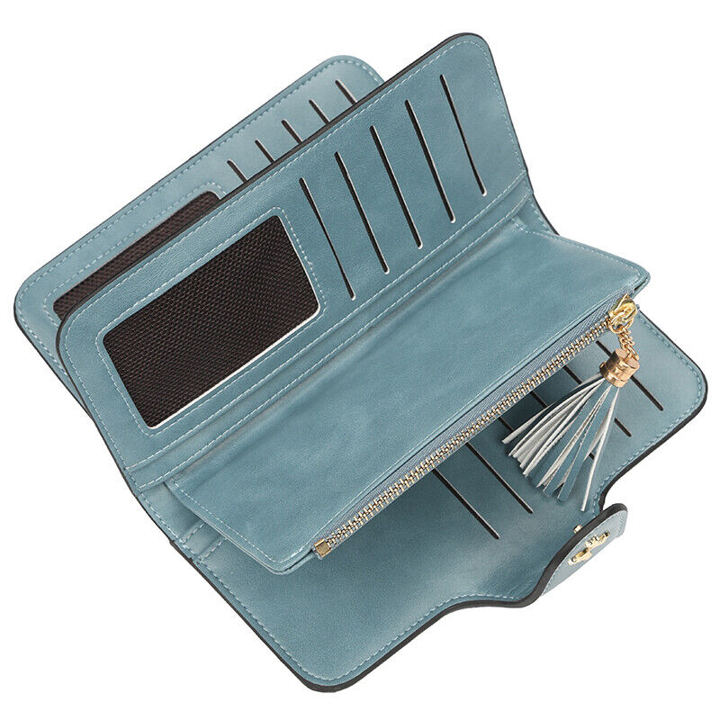 Women Long Leather Wallet Credit Card Holder Large Capacity Purse Handbag Bag US Clothing, Shoes & Accessories