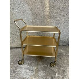 Vintage Gold 3 Tier Drinks Trolley with Removable Tray