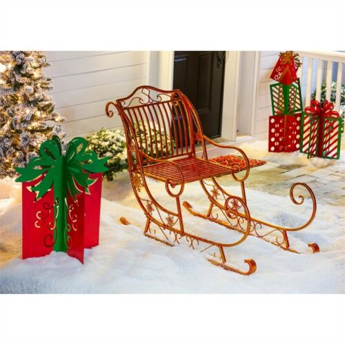Santa Sleigh Red Gold Metal Outdoor