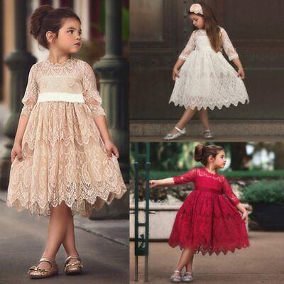 Winter Party Dresses For Girls (Flower Lace Embroidery Dress For Girls Princess Autumn Winter Party Ball)
