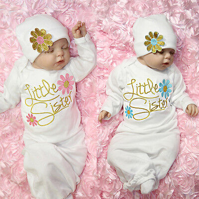 Newborn Baby Girl Little Sister Flower Sleeping Gown Swaddle Coming Home - Swaddle Outfit