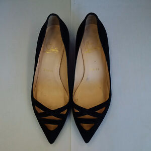 Christian Louboutin black suede cut out shoes, size 7