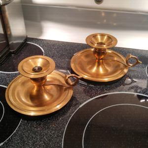 Twas The Night Before Christmas Brass Candlestick Pair