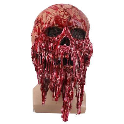 Scary Halloween Drop Blood Skull Head Mask Cosplay Horror Party Theater Props - Halloween Mask Blood