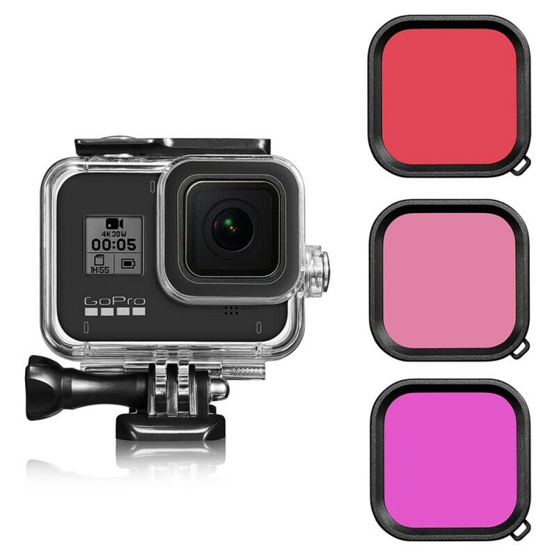 For GoPro Hero 8 New Camera Waterproof Housing Protective Case (Filter Kit)