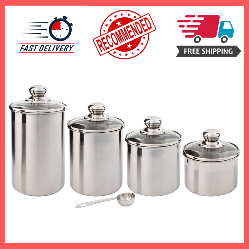 Beautiful Canister Set for Kitchen 4-Piece Stainless Steel w