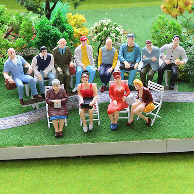 100PC Scale 1:150 Mix Painted Model Train Street Passenger People Figures &