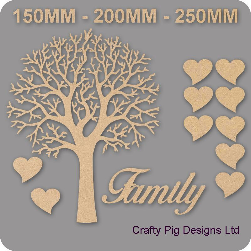 Árbol familiar Kit Set Corazón 3mm Mdf Corte Láser De Madera Artesanal en blanco al por mayor de boda