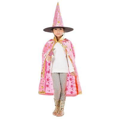 Halloween Kostueme Hexe Zauberer Umhang Mit Hut Fuer Kinder Jungen Maedchen N3E4