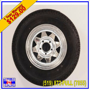 205/75R15  Galvanized Trailer Wheel and Radial Tire 5 on 4.5 Pat