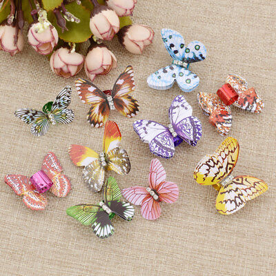 10pcs Colorful Butterfly Rhinestone Dreadlock Dread Hair Braid Cuff Clips Decor