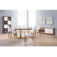 Contemporary WHITE on WALNUT Dining Room Furniture