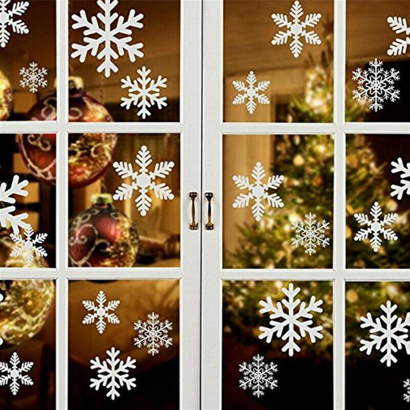 Home Decoration - 57pcs Snow Window Stickers Christmas Snow Flake Xmas Home Decoration sticky