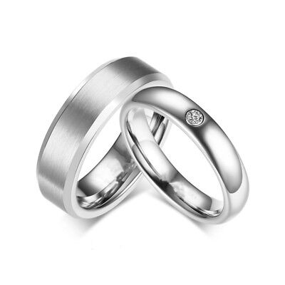 316l stainless steel cz silver band men