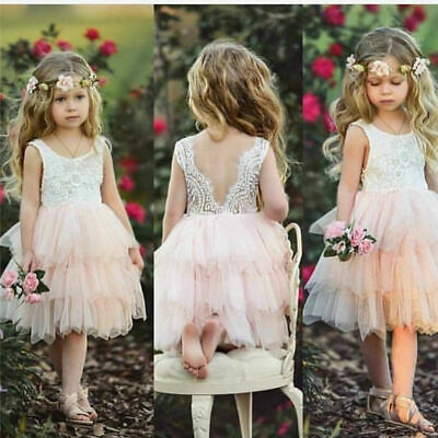 Lace Ruffle Dress Toddler (Toddler Girls Lace Dress Backless Ruffle Sleeveless Pageant Princess)