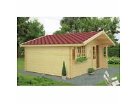 44 mm, 16 x 13' (5 x 4 m) Log Cabin. 18 mm roof and floor boards.